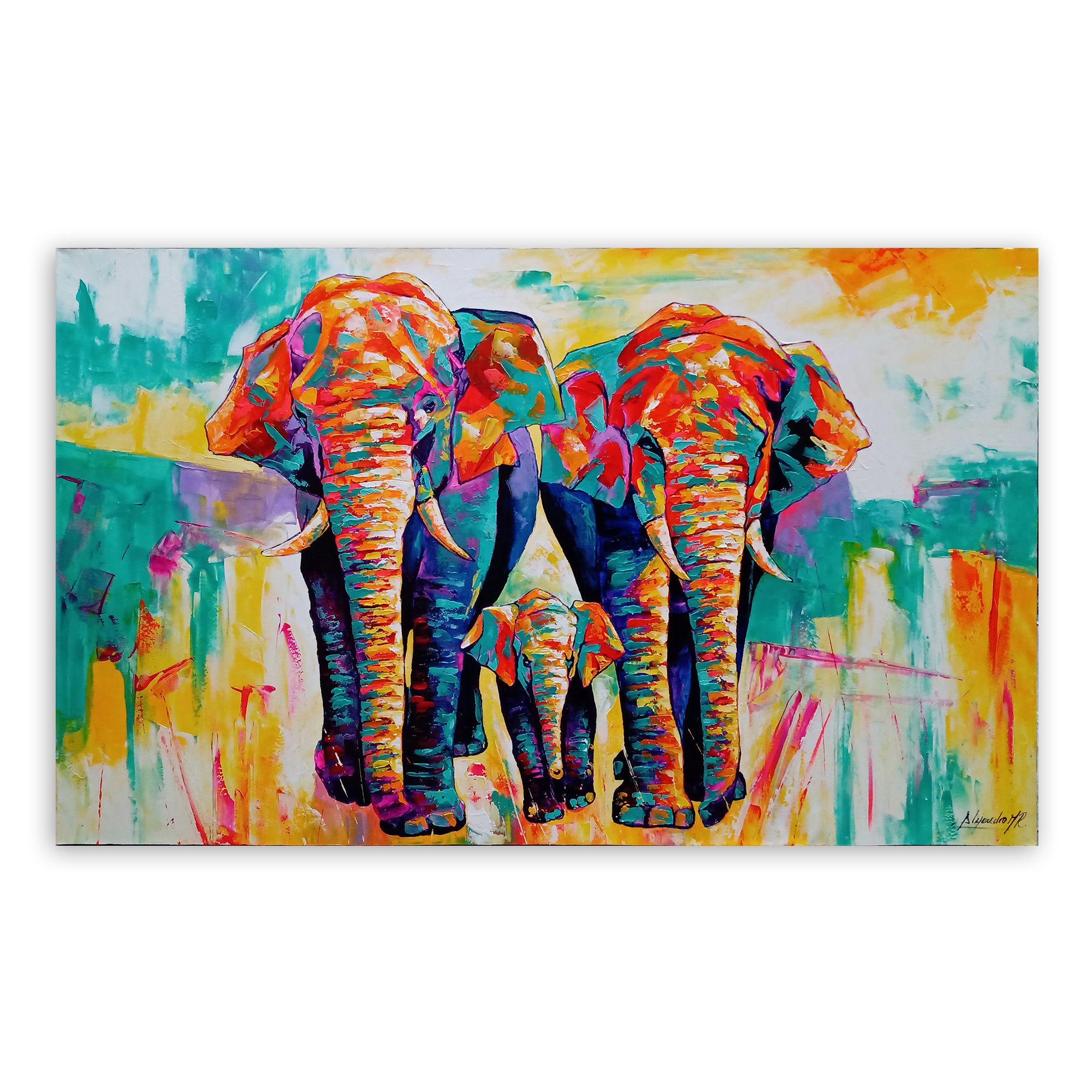 Cuadro Familia de Elefantes