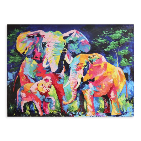 Cuadro Familia de Elefantes Noche